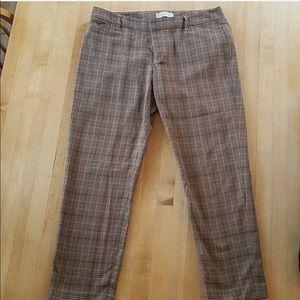 Gap Cropped Slim Stretch Plaid Pants Size 8